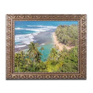 Pierre Leclerc 'Tropical Paradise' Ornate Framed Art