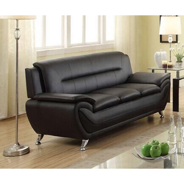 Shop Deliah Modern Contemporary Black Faux Leather Sofa - Free ...