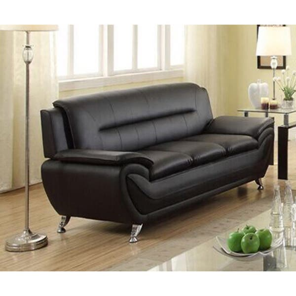 Deliah Modern Contemporary Black Faux Leather Sofa