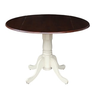 Antique White and Espresso Wood 42-inch Round Dual Drop Leaf Pedestal Table