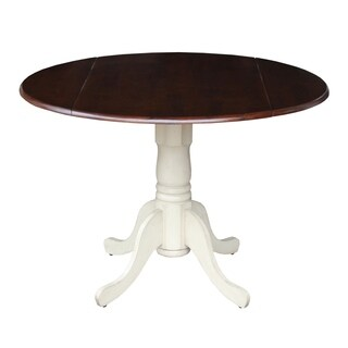 International Concepts Antique White and Espresso Wood 42-inch Round Dual Drop Leaf Pedestal Table