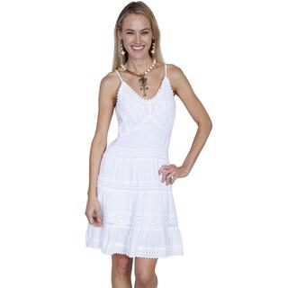 Scully Leather Women's White 100-percent Peruvian Cotton Spaghetti Strap Short Dress