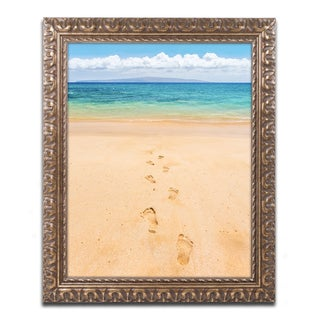 Pierre Leclerc 'Footprints in the Sand' Ornate Framed Art