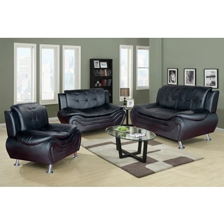 Ethel Modern Contemporary Faux Leather Black Living Room Sofa Set