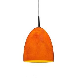 Bruck Lighting Alexander Matte Chrome LED 4-inch Kiss Canopy Pendant with Tangerine Glass Shade