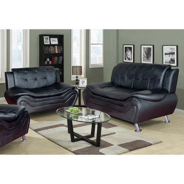 Shop Ethel Contemporary Modern Black Faux Leather Living Room Sofa