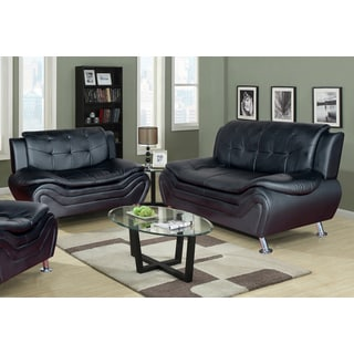 Ethel Contemporary Modern Black Faux Leather Living Room Sofa Set