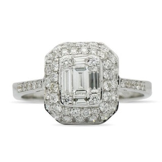 JewelMore 18k White Gold 0.90ct TDW Baguette and Round Diamond Engagement Ring (F-G, VS1-VS2)