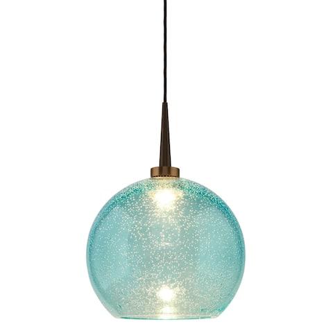 Bruck Lighting Bobo 2 LED 4-inch Canopy Bronze Pendant with Aqua Glass Shade