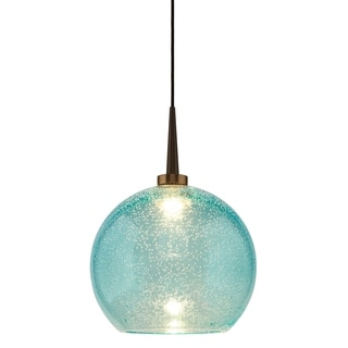 Bruck Lighting Bobo 2 LED 4-inch Kiss Canopy Bronze Pendant with Aqua Glass Shade