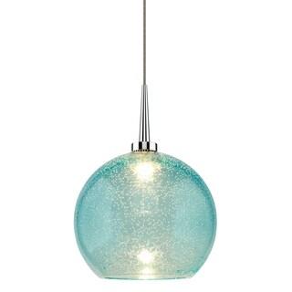 Bruck Lighting Bobo 2 Chrome and Aqua Glass Shade 4-inch Canopy LED Pendant