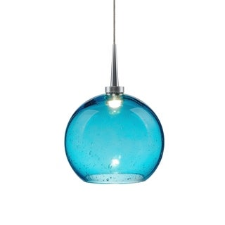 Bruck Lighting Bobo 2 Metal 4-inch 1-light Kiss Canopy Matte Chrome Pendant Fixture with Aqua Glass Shade