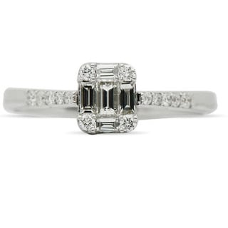 JewelMore 18k White Gold 1/2ct TDW Baguette and Round Diamond Engagement Ring (VS1-VS2, F-G)