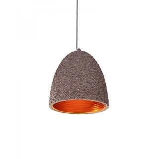 Concrete Pendant Light With Pebbled Shade