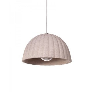 Concrete Pendant Light with Ribbed Dome-shape Shade