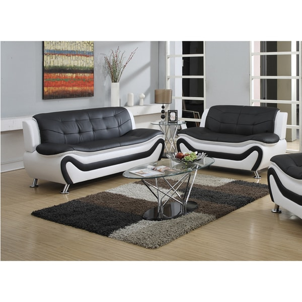 Shop Tiffany relaxing contemporary modern style 2pc sofa set, black ...