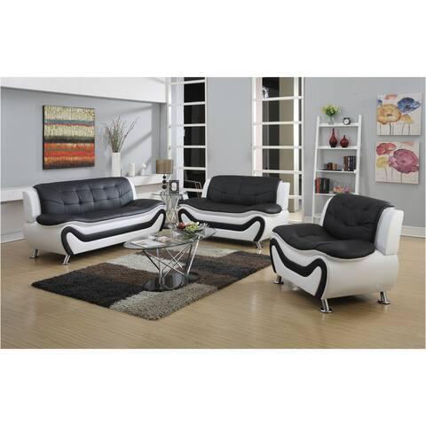 Tiffany Modern Faux Leather Living Room Sofa Set