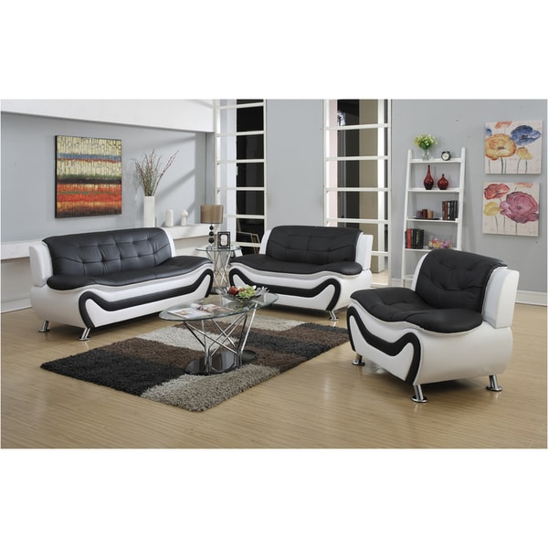 Tiffany Modern Faux Leather Living Room Sofa Set
