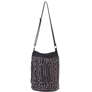 Scully Black Cotton Tri-tone Macrame Shoulder Tote Bag