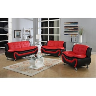 Roselia relaxing contemporary modern style 3pc sofa set, black red