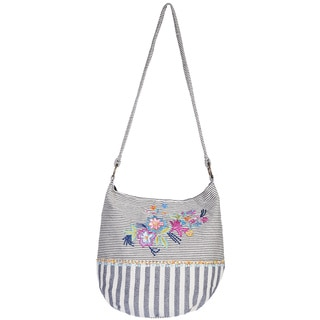 Scully Grey Cotton/Polyester Floral/Stripe Hobo Handbag