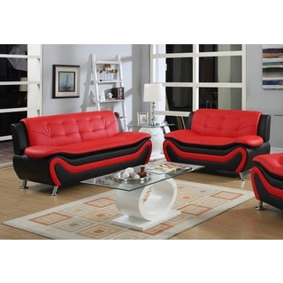 Bon Roselia Relaxing Contemporary Modern Style 2pc Sofa Set, Black Red