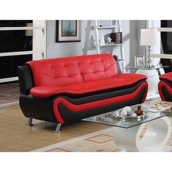 Roselia Relaxing Contemporary Modern Style Sofa Black Red