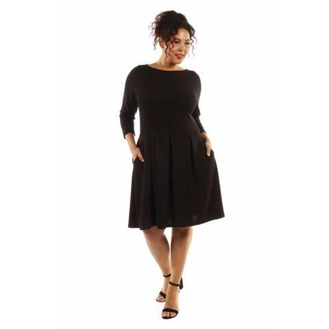 24/7 Comfort Apparel Women's Classic Plus Size Little Black Dress