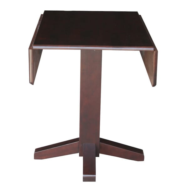 Brown Wood 36 Inch Square Dual Drop Leaf Dining Table