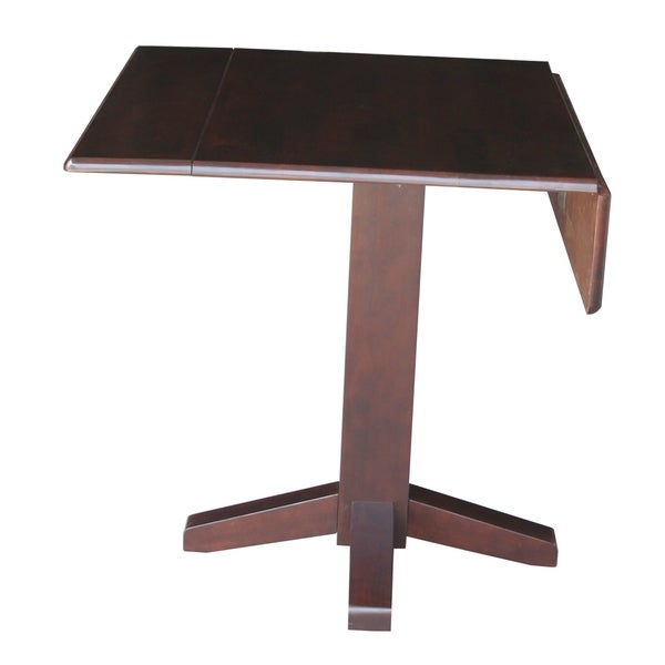 International Concepts Brown Wood 36-inch Square Dual-Drop-Leaf Dining Table - Rich Mocha