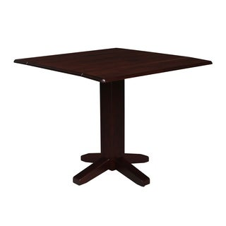 Brown Wood 36-inch Square Dual-drop-Leaf Dining Table