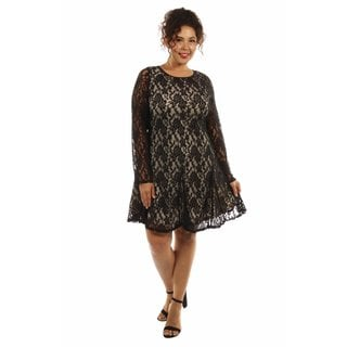 24/7 Comfort Apparel Women's Lace and Fire Plus Size Midi Dress