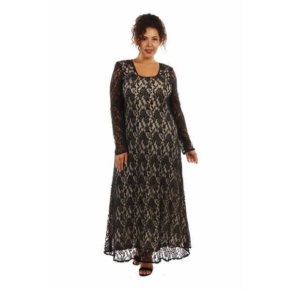 24/7 Comfort Apparel Women\'s Lace CrissCross Plus Size Maxi Dress