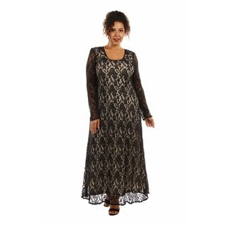 Lace CrissCross Plus Size Maxi Dress