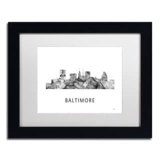 Marlene Watson 'Baltimore Maryland Skyline WB-BW' Matted Framed Art