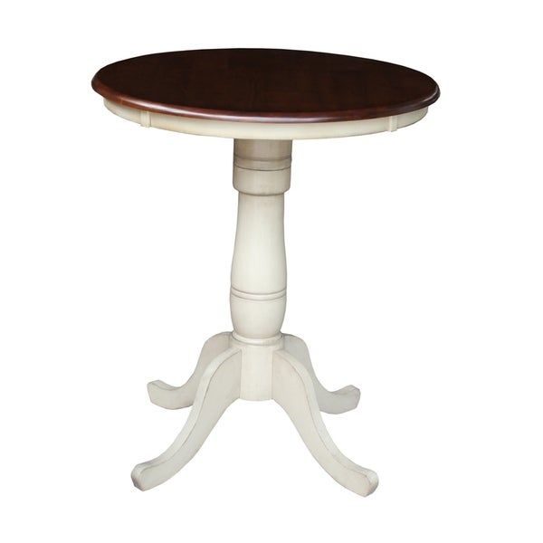International Concepts Solid Wood Inch Inch High Roundtop - High top pedestal table