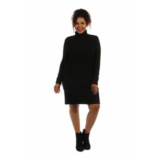 Sleek Autumn Plus Sized Mock Turtleneck Dress