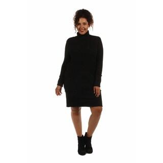 24/7 Comfort Apparel Women's Sleek Autumn Plus Sized Mock Turtleneck Dress