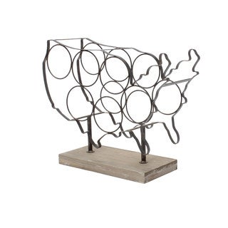 America Countertop Grey and Brown Metal and Wood Wine Rack