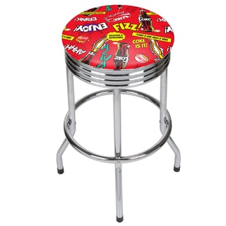 Coca Cola Chrome Ribbed Bar Stool - Pop Art