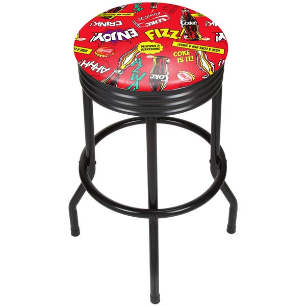 Coca Cola Black Ribbed Bar Stool - Pop Art