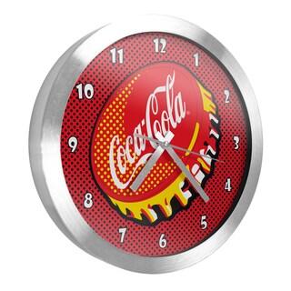 Coca Cola 12 Inch Brushed Aluminum Wall Clock - Pop Art