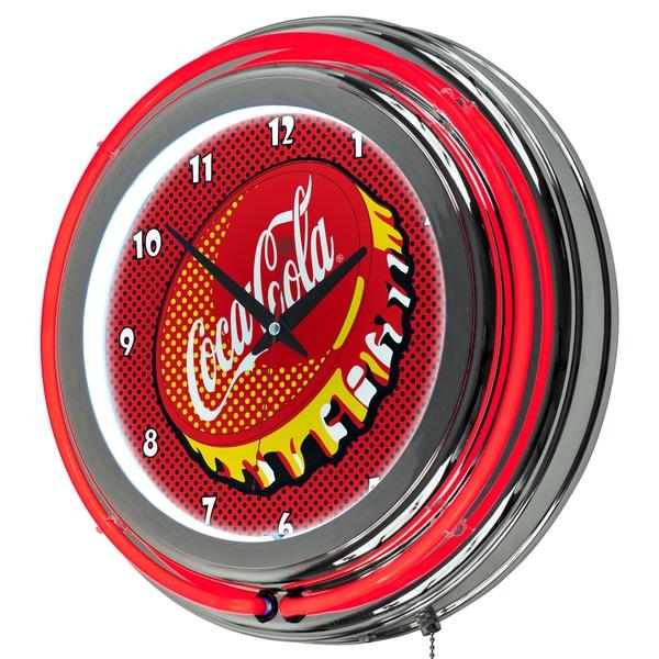 Coca Cola Chrome Double Rung Neon Clock - Pop Art