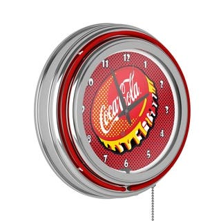 Coca Cola Chrome Double Rung Neon Clock - Pop Art|https://ak1.ostkcdn.com/images/products/12981673/P19728872.jpg?impolicy=medium