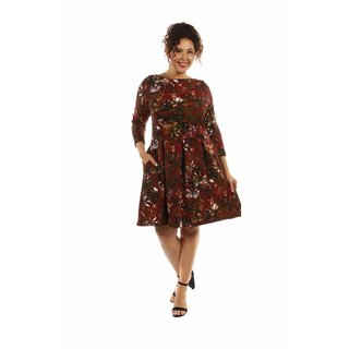 24/7 Comfort Apparel Women's Dazzling Floral Plus Size Midi Dress