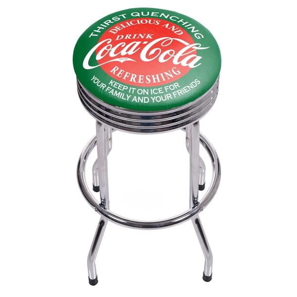 Coca Cola Chrome Ribbed Bar Stool