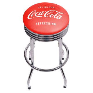Coca Cola Chrome Ribbed Bar Stool