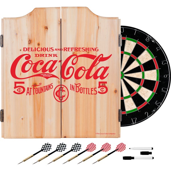 Coca Cola Dart Cabinet Set with Darts and Board - 5 Cent