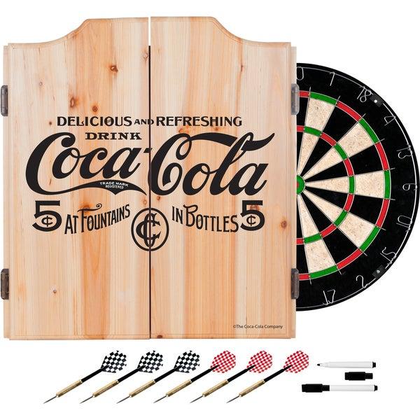 Coca Cola Dart Cabinet Set with Darts and Board - 5 Cent Black