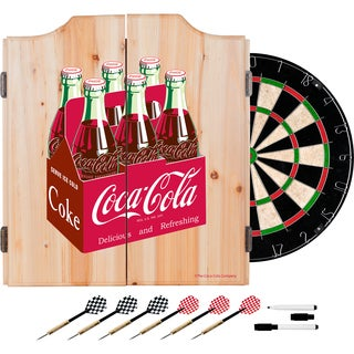 Coca Cola Dart Cabinet Set with Darts and Board - 6 Pack